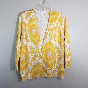 J. Crew Cardigan Sweater Yellow white XL